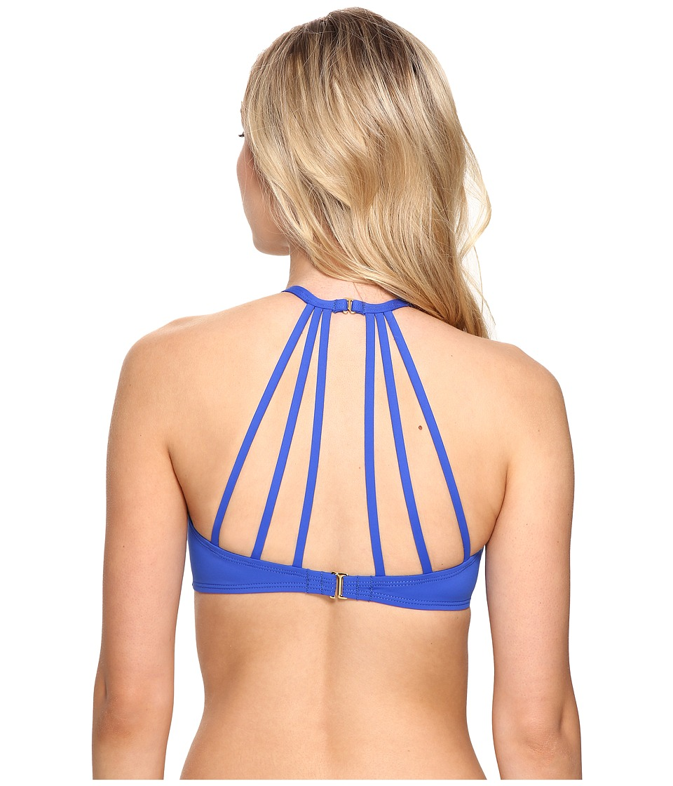 La Blanca All Meshed Up Strappy Hi-Neck Bra Top (Sapphire) Women