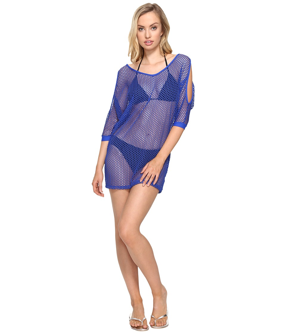 La Blanca All Meshed Up Cold Shoulder Tunic Cover-Up (Sapphire) Women