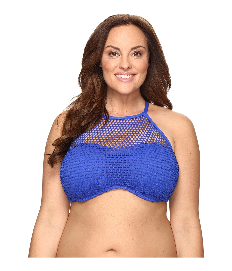 La Blanca Plus Size All Meshed Up Strappy Hi-Neck Bra Top (Sapphire) Women