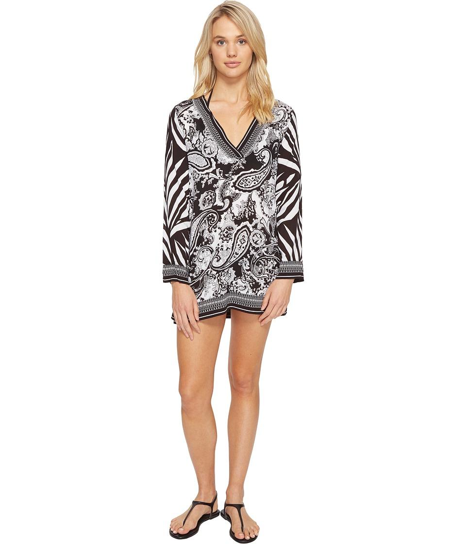 La Blanca - Sevilla Scarf V-Neck Tunic Cover-Up (Black/White) Women's Swimwear