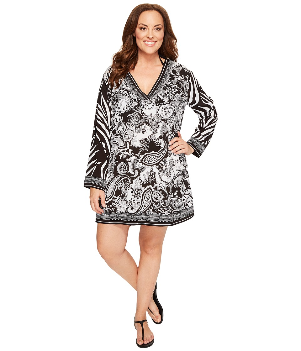 La Blanca - Plus Size Sevilla Scarf V-Neck Tunic Cover-Up (Black/White) Women's Swimwear