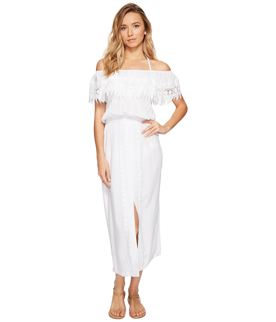 La Blanca Costa Brava Off the Shoulder Midi Dress Cover-Up (White) Women