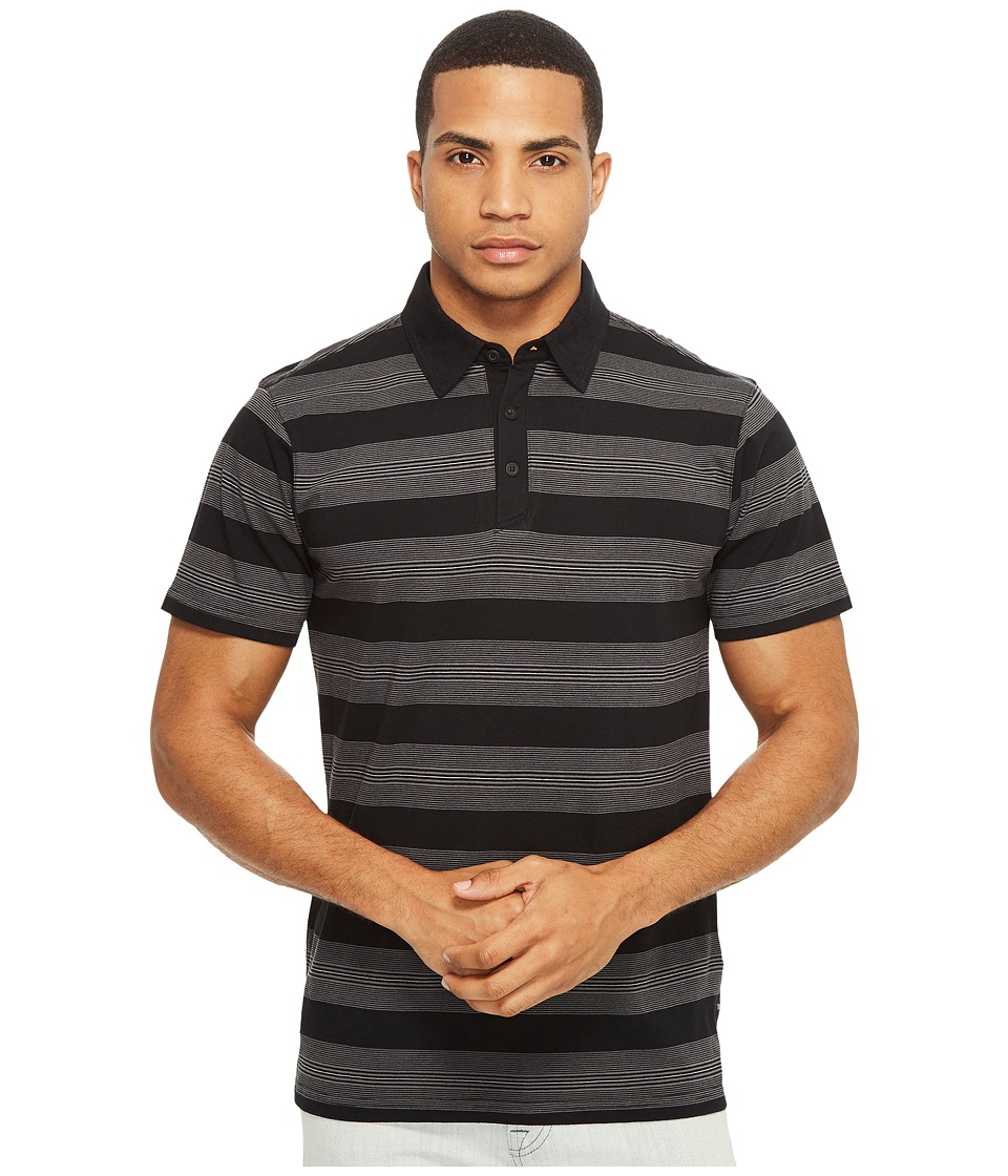 Tavik - Swift Polo Stripe (Black/Grey) Men's Short Sleeve Pullover