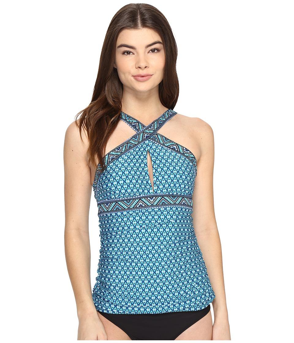 Jantzen Wow Factor High Neck Crisscross Tankini Top (Turquoise) Women