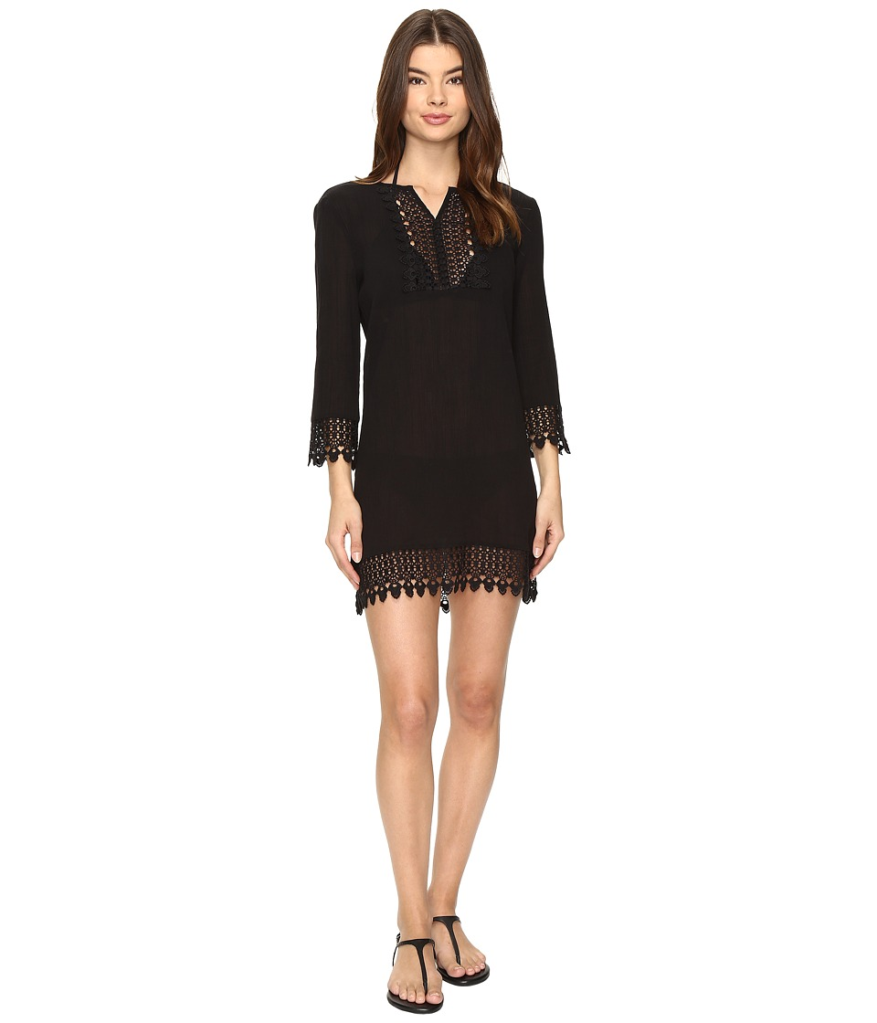 Jantzen - Crochet Trim Tunic Cover-Up (Black) Women's Swimwear