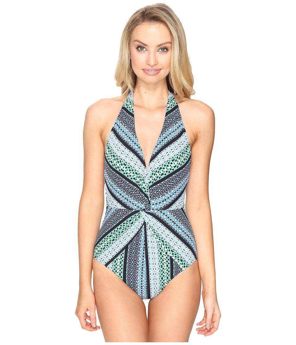 Jantzen - Geo Graphic Stripe Halter Plunge One-Piece (Cool) Women's Swimsuits One Piece