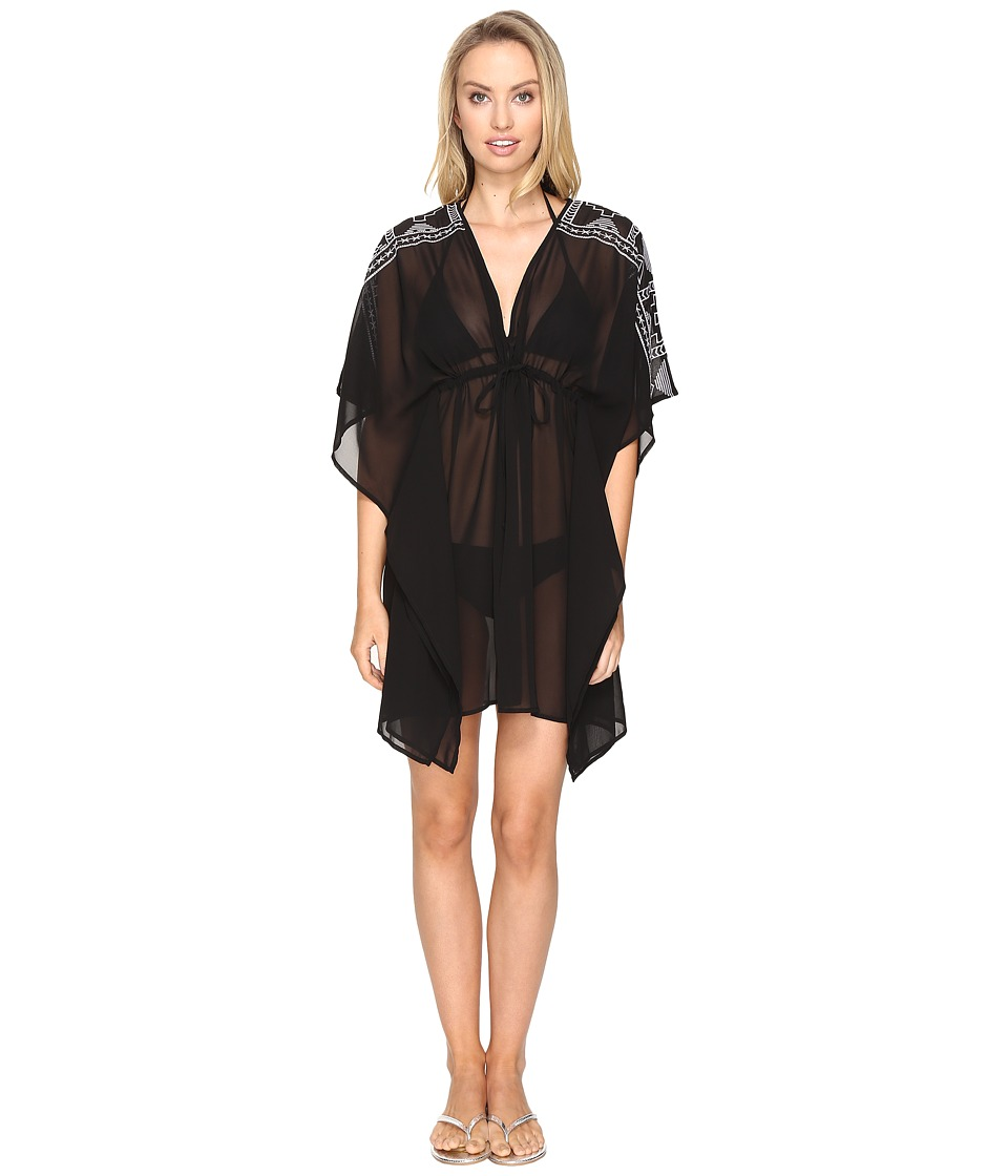 Jantzen Dahlias Garden Embroidered Caftan Cover-Up Black Swimwear