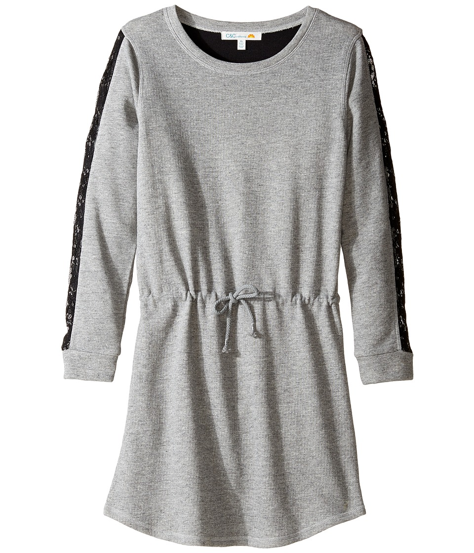 C&C California Kids - French Terry Lace Trim (Little Kids/Big Kids) (Granite Grey Heather) Girl's Dress