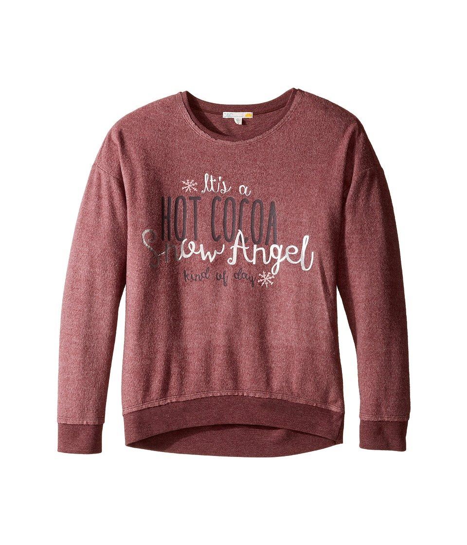 C&C California Kids - Drop Shoulder Sweatshirt (Little Kids/Big Kids) (Wine Heather) Girl's Sweatshirt