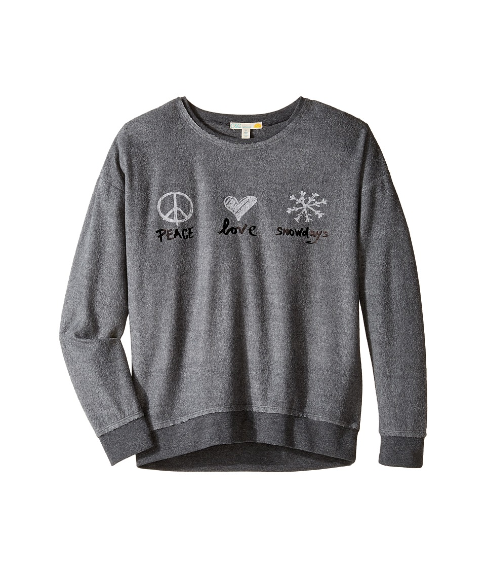 C&C California Kids - Drop Shoulder Sweatshirt (Little Kids/Big Kids) (Charcoal Heather) Girl's Sweatshirt