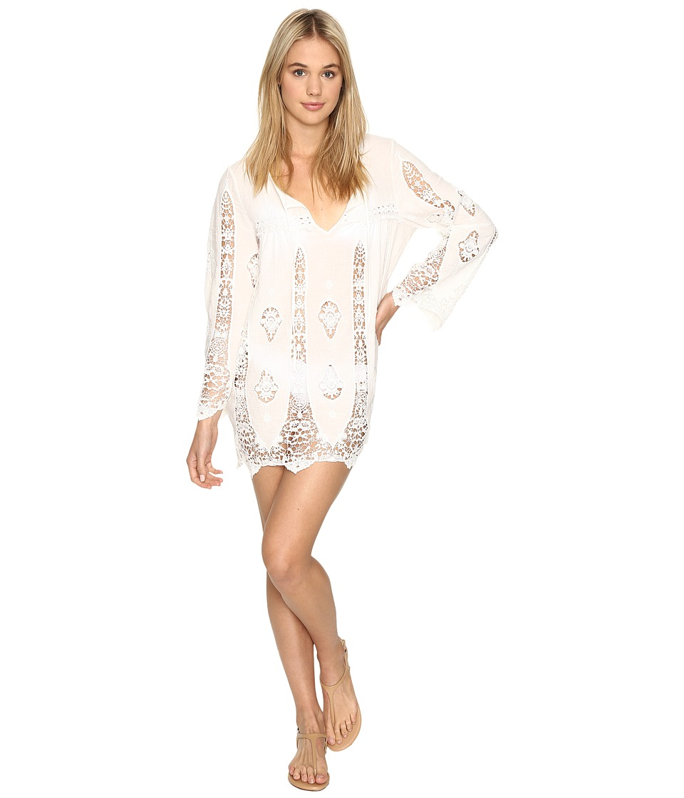 Nanette Lepore - Carnaby Crochet Tunic Cover-Up (White) Women's Swimwear