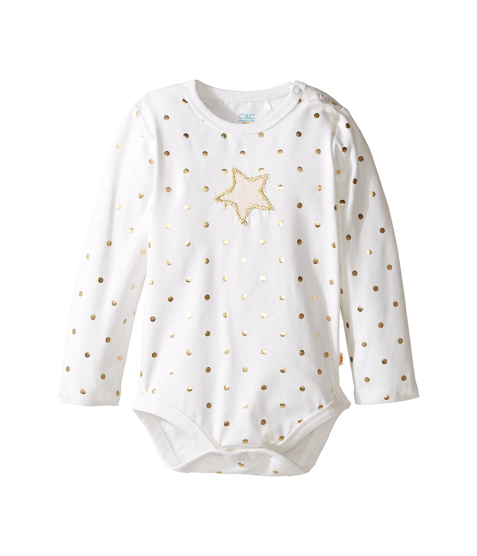 C&C California Kids - Foil Printed Long Sleeve Bodysuit (Infant) (Snow White) Girl's Clothing