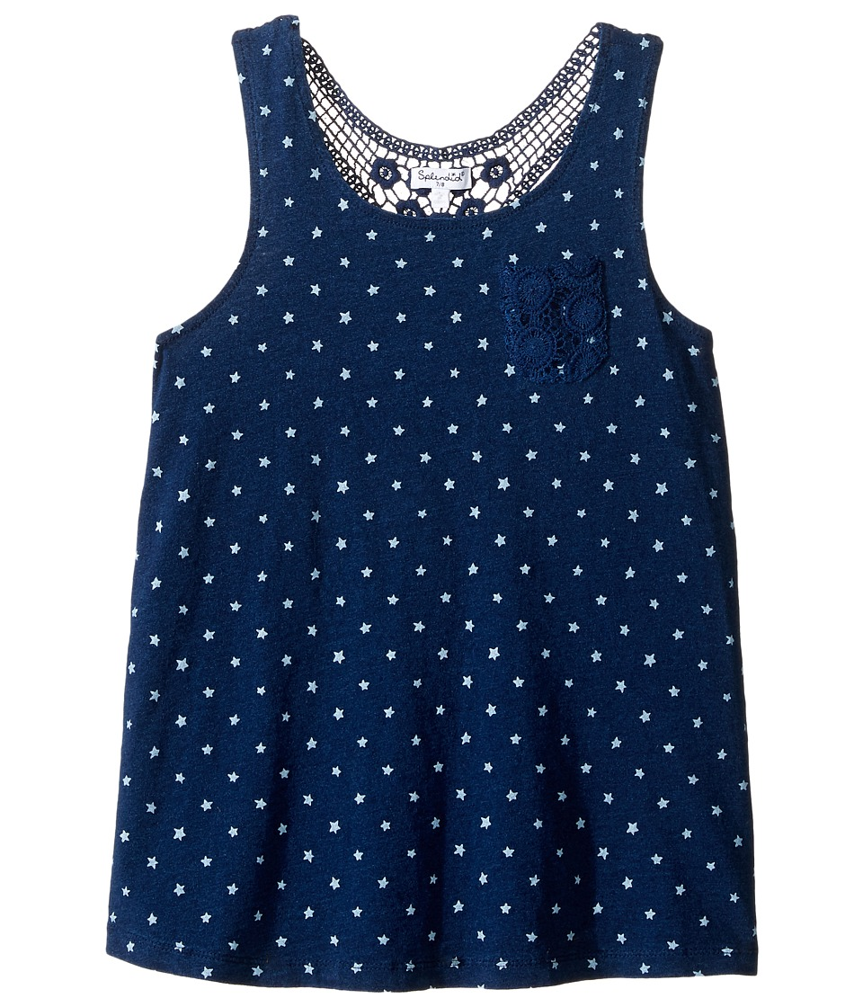 Splendid Littles - Indigo w/ Lace Back Insert Tank Top (Big Kids) (Dark Stone Star) Girl's Sleeveless