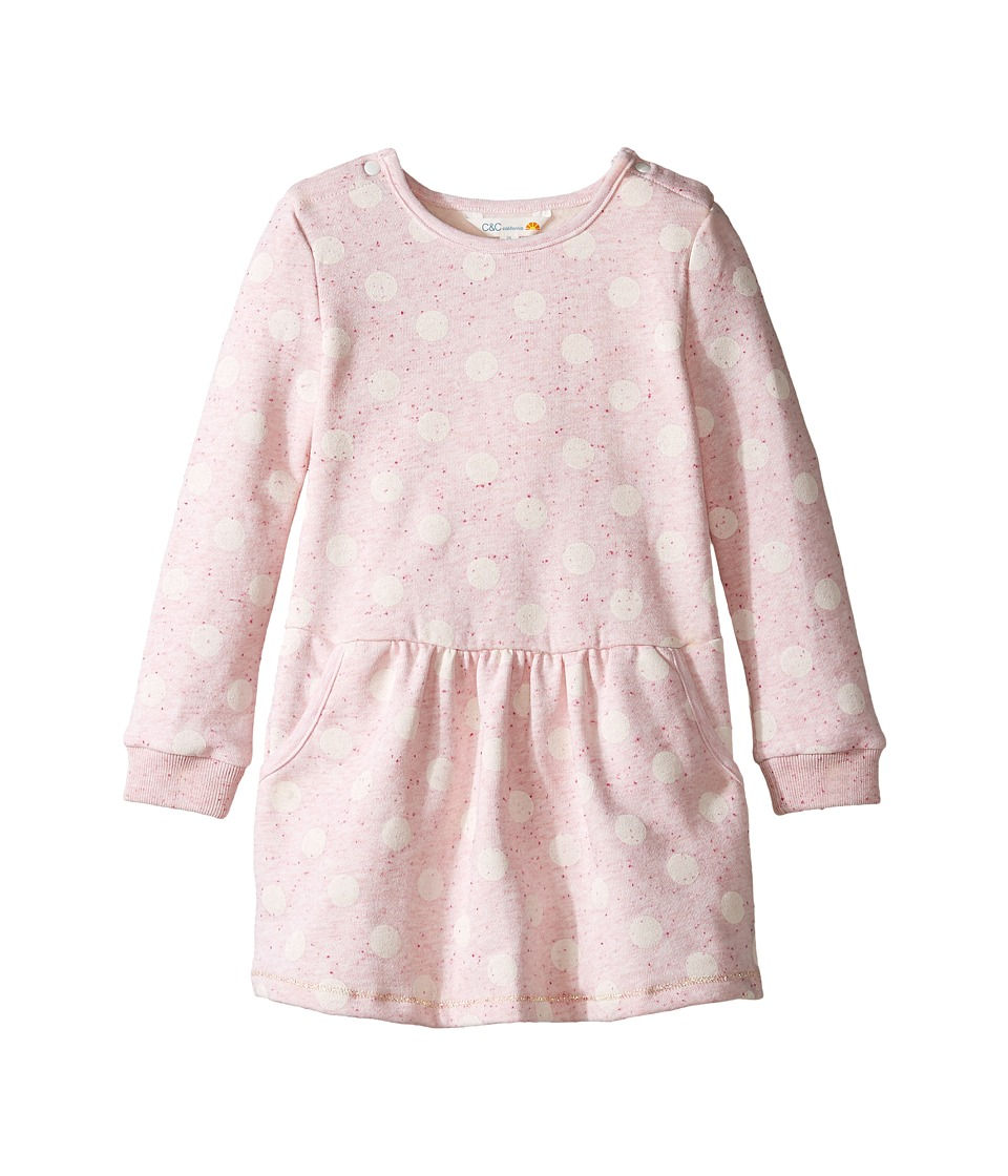 C&C California Kids - Polka Dot Dress (Infant) (Pink Bow Heather) Girl's Dress