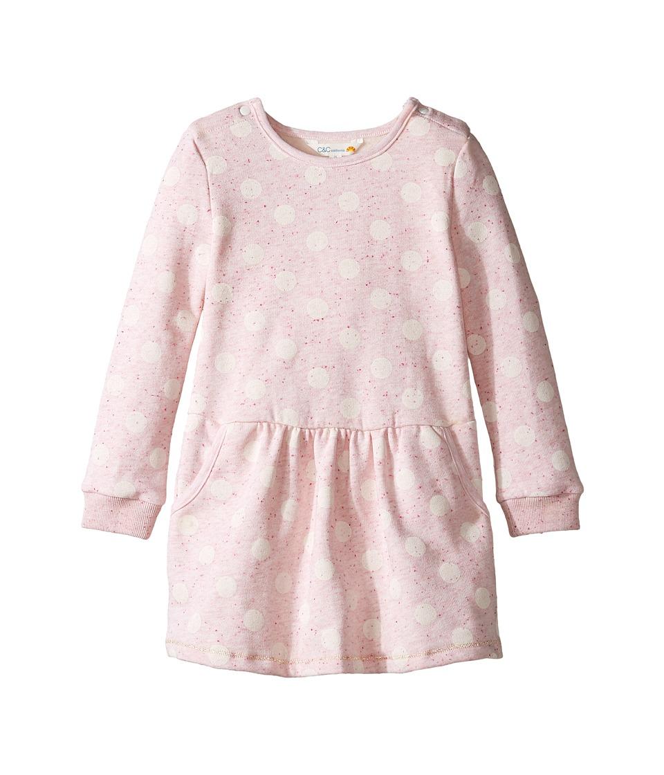 C&C California Kids - Polka Dot Dress (Infant) (Pink Bow Heather) Girl's Dress