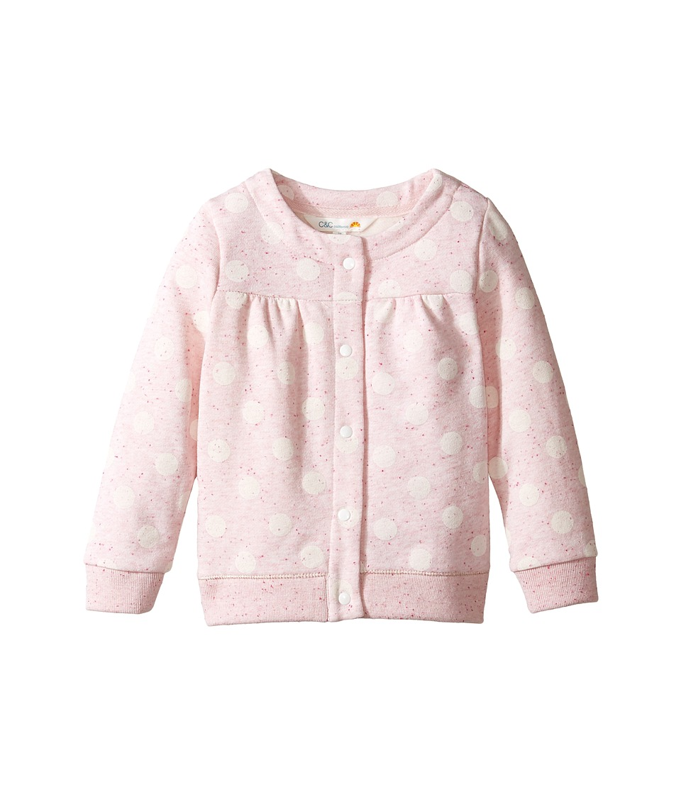 C&C California Kids - Polkadot Cardigan (Infant) (Pink Bow Heather) Girl's Sweater