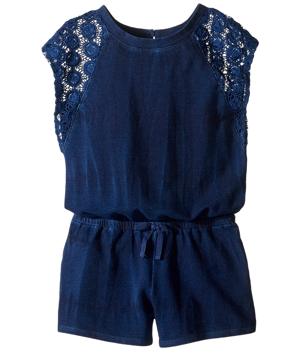 Splendid Littles - Indigo Baby French Terry Romper w/ Lace (Big Kids) (Indigo) Girl's Jumpsuit & Rompers One Piece