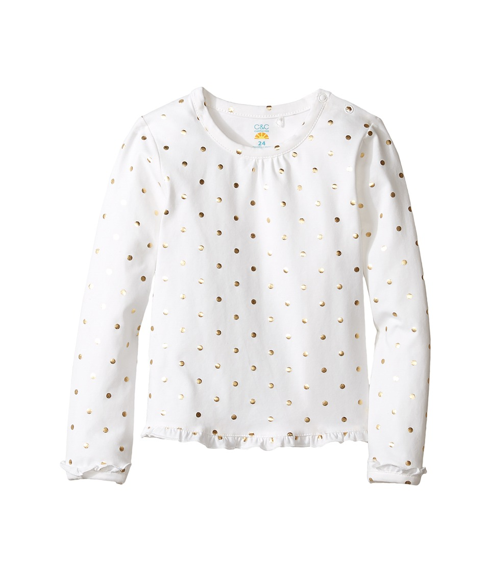C&C California Kids - Ruffle Trim Top w/ Foil Dot Print (Infant) (Snow White) Girl's Clothing