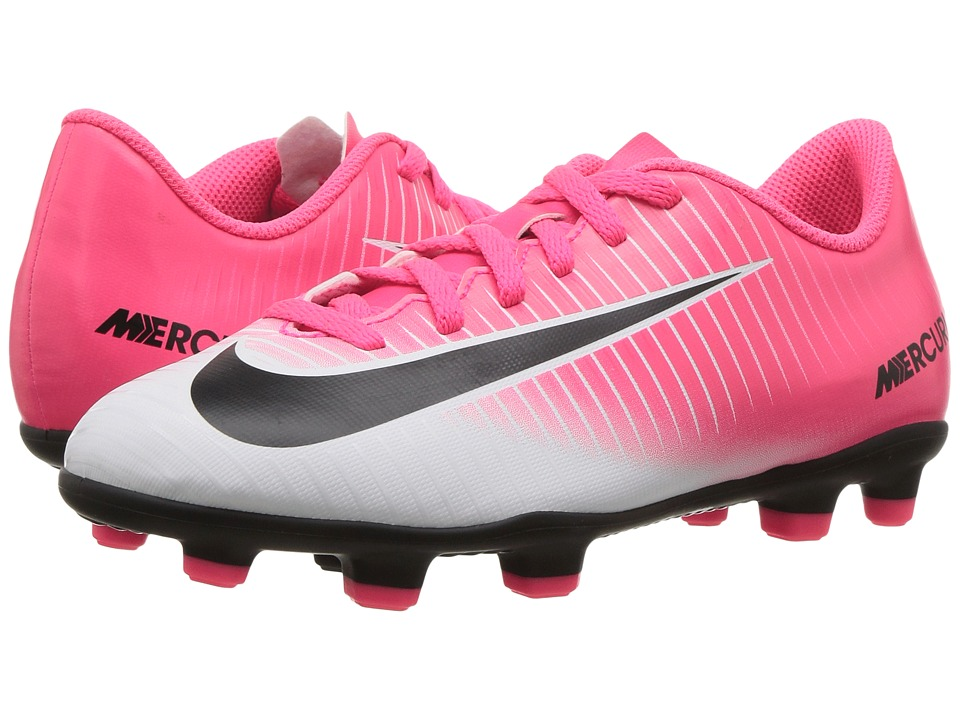 Nike Kids - Jr Mercurial Vortex III FG Soccer (Little Kid/Big Kid) (Racer Pink/Black/White) Kids Shoes
