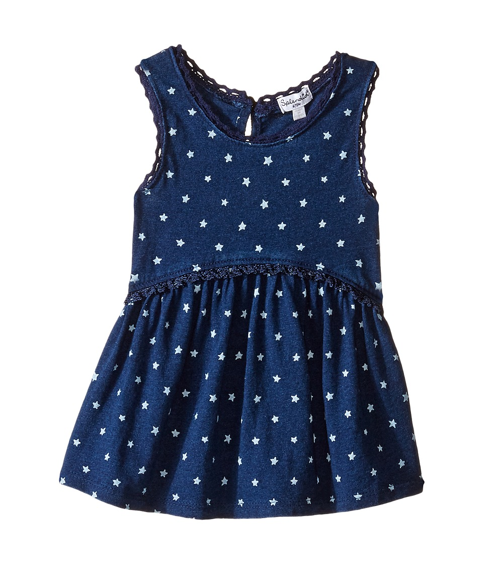 Splendid Littles - Inidgo w/ Lace Trim Swing Top (Infant) (Dark Stone Star) Girl's Clothing