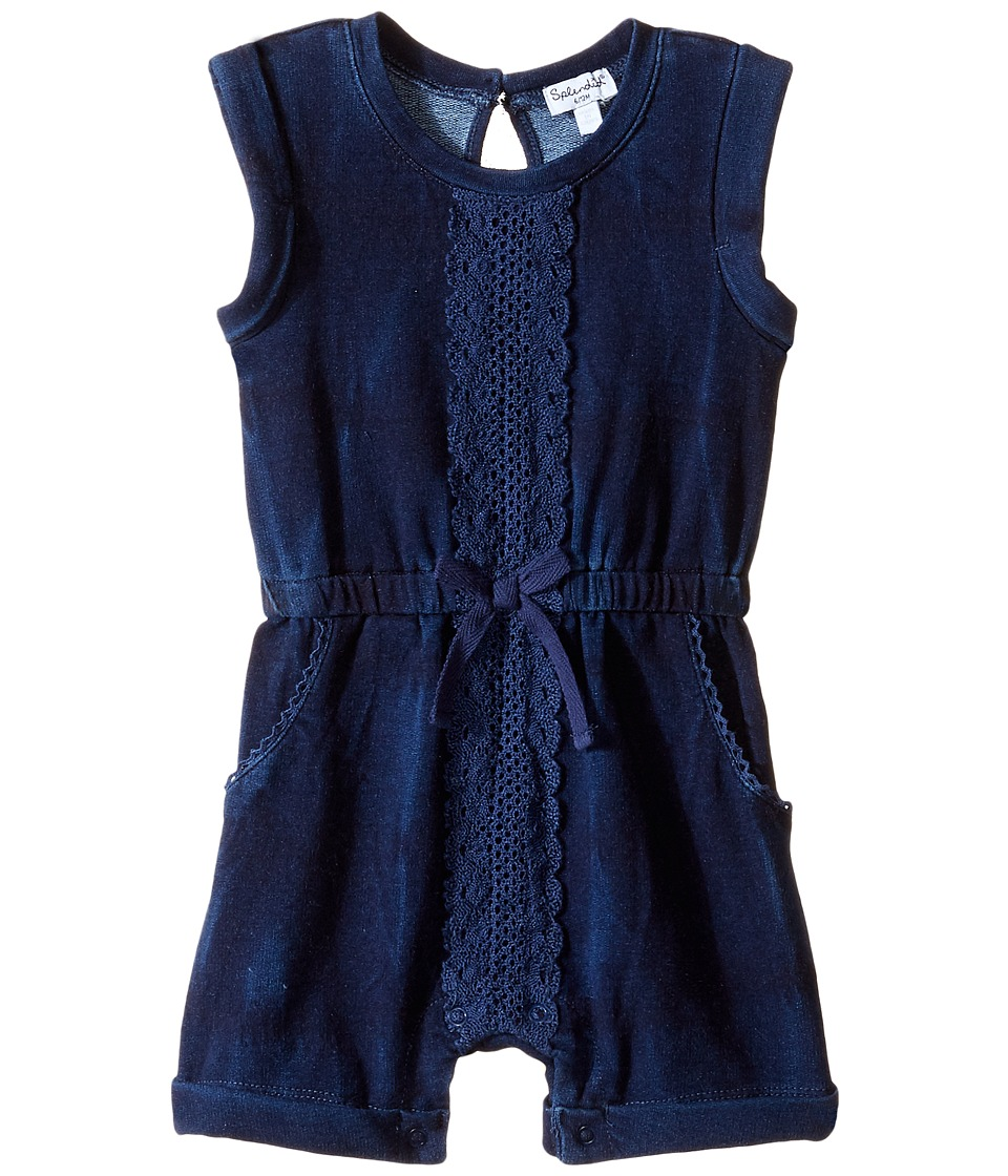 Splendid Littles - Indigo Baby French Terry Romper w/ Lace (Infant) (Indigo) Girl's Jumpsuit & Rompers One Piece