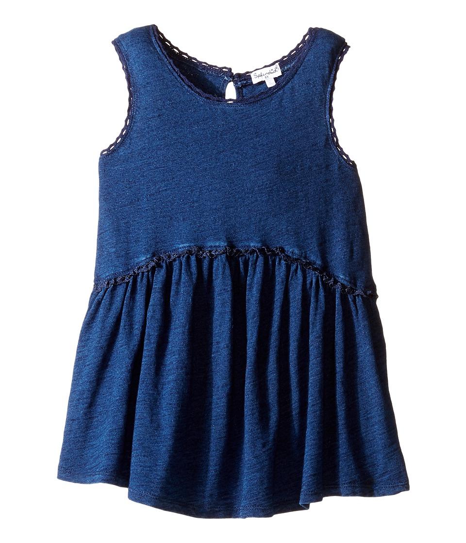 Splendid Littles - Indigo w/ Lace Trim Swing Top (Little Kids) (Dark Stone) Girl's Clothing