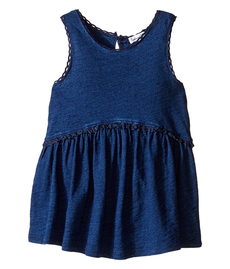 Splendid Littles - Indigo w/ Lace Trim Swing Top (Toddler) (Dark Stone) Girl's Clothing