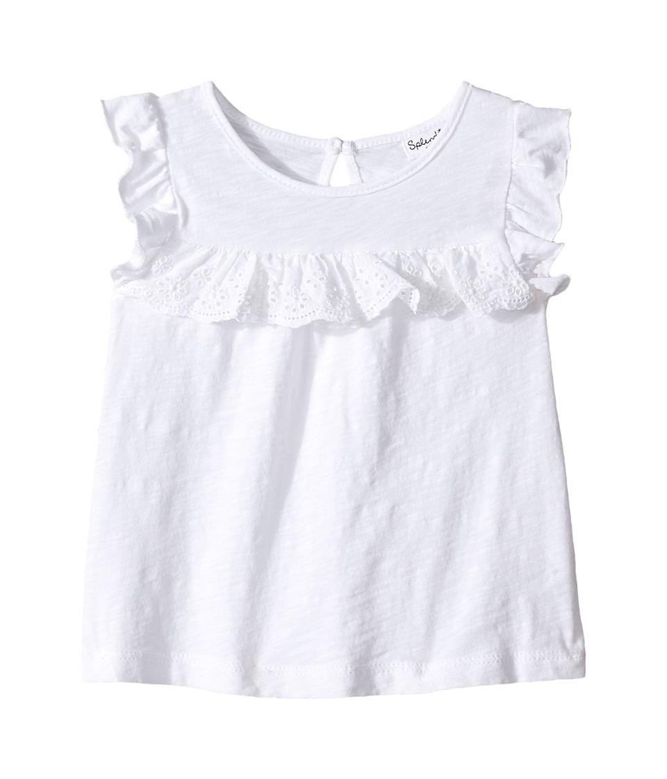 Splendid Littles - Short Sleeve Flutter Sleeve Knit Top (Infant) (White) Girl's Clothing