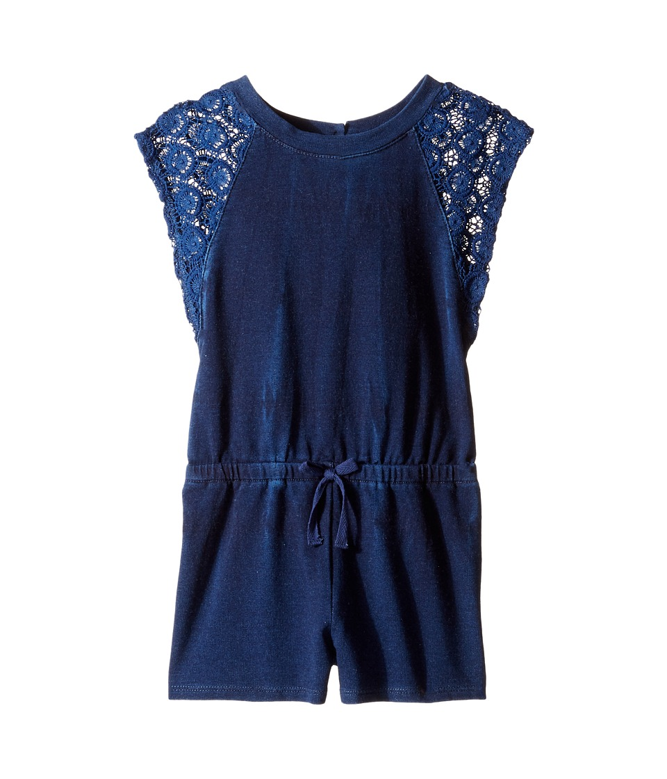 Splendid Littles - Indigo Baby French Terry Romper w/ Lace (Toddler) (Indigo) Girl's Jumpsuit & Rompers One Piece