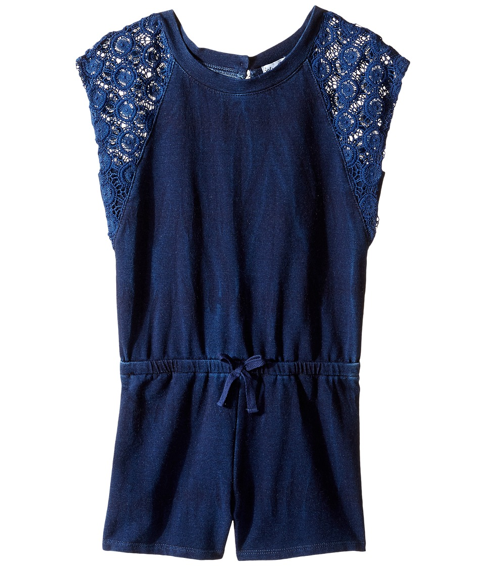 Splendid Littles - Indigo Baby French Terry Romper w/ Lace (Little Kids) (Indigo) Girl's Jumpsuit & Rompers One Piece