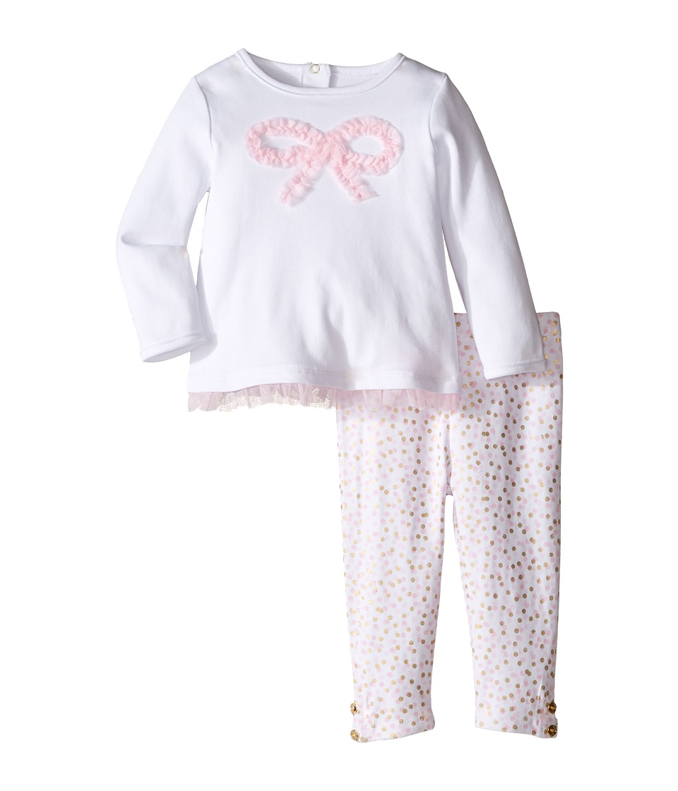 Kate Spade New York Kids - Bow Top and Leggings Set (Infant) (Cream/Confetti Dot) Girl's Active Sets