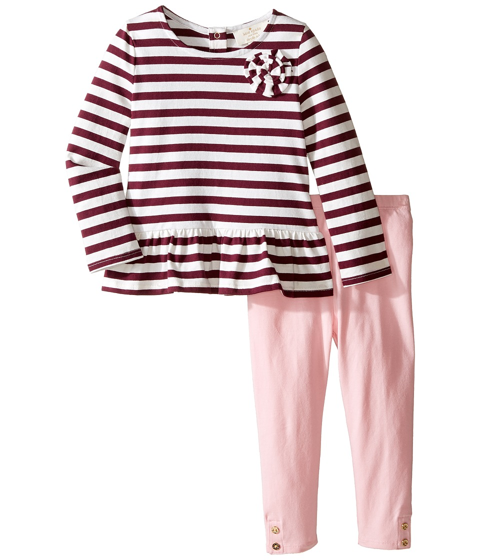 Kate Spade New York Kids - Rosette Top and Leggings Set (Infant) (Stripe) Girl's Active Sets