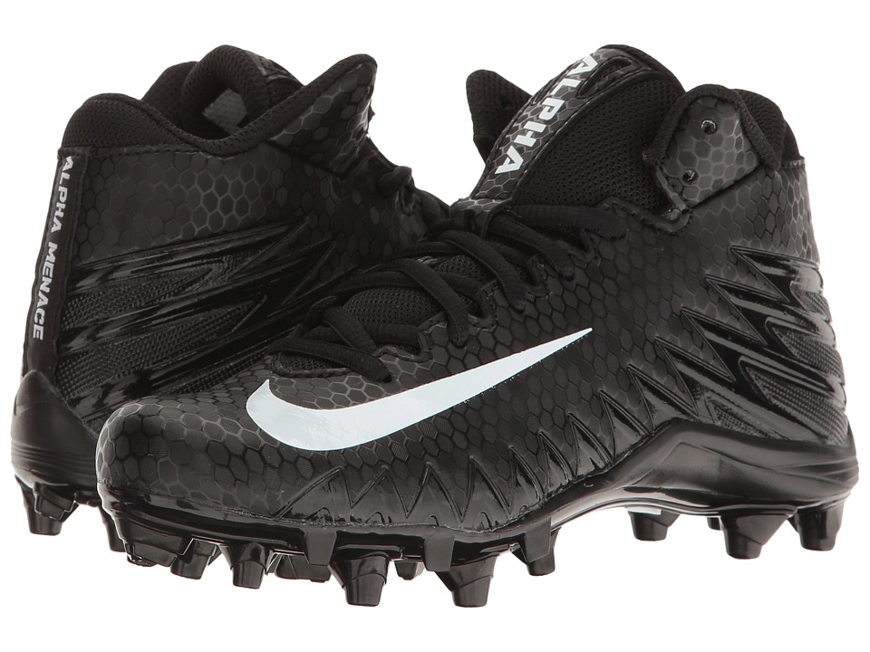 Nike Kids - Alpha Menace Varsity Mid Football (Little Kid/Big Kid) (Black/White/White) Kids Shoes