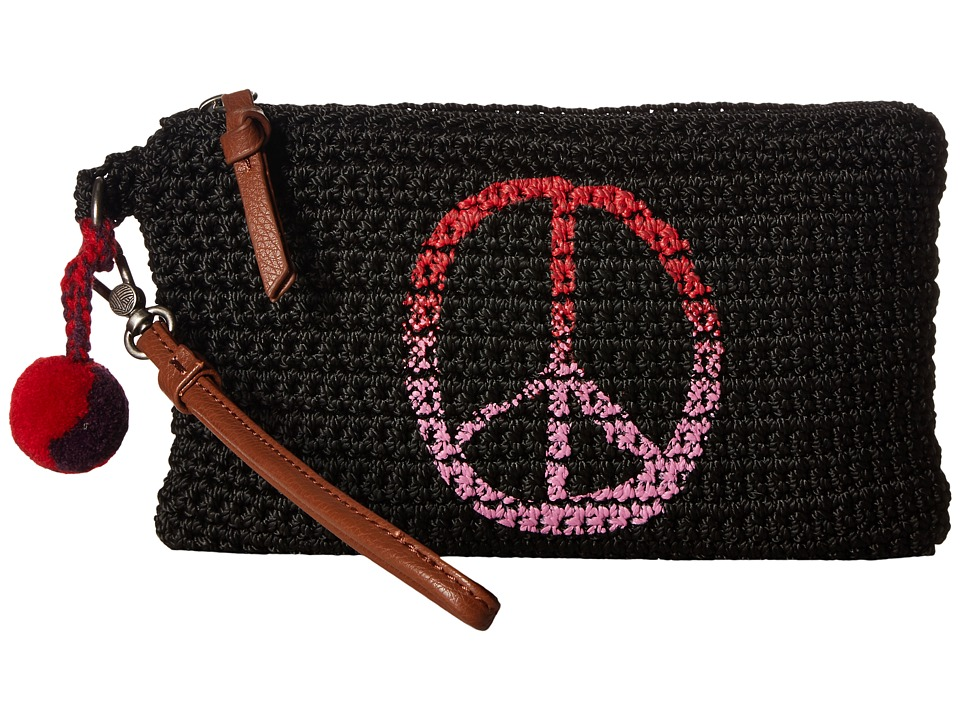 The Sak - Sanibel Crochet Phone Charging Wristlet (Black Peace) Wristlet Handbags