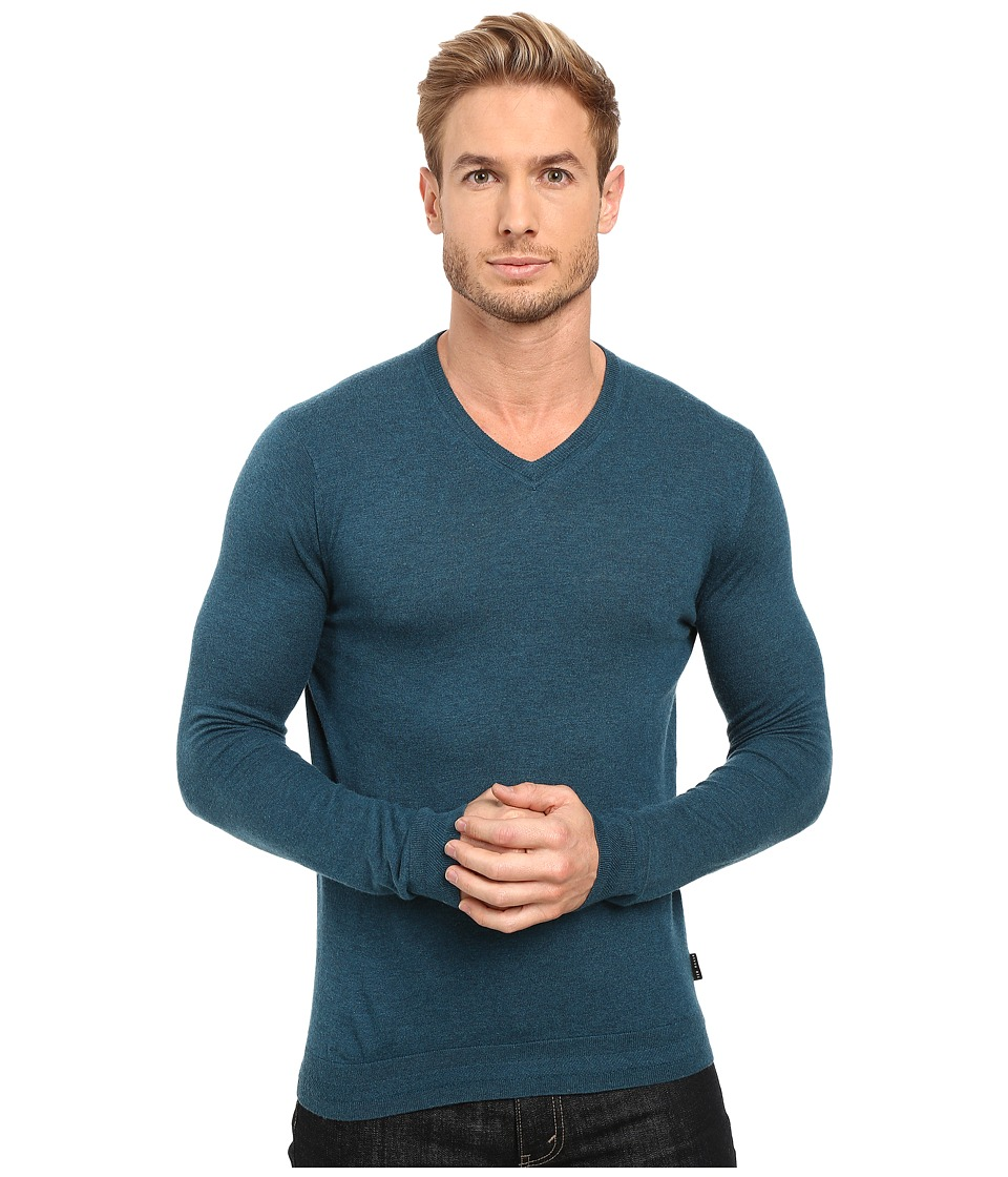Ted Baker - Cashguy Long Sleeve Cashmere Blend V-Neck (Teal) Men's T Shirt