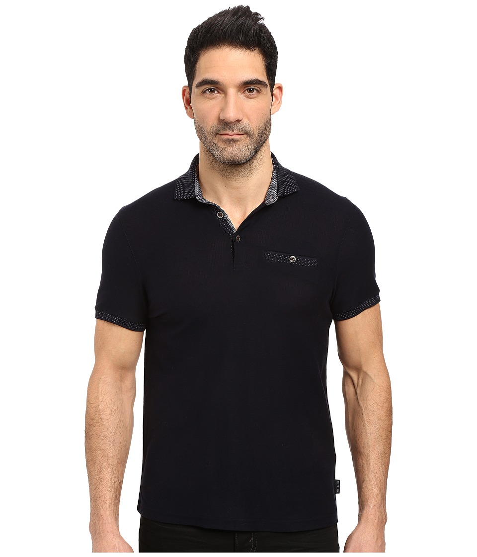 Ted Baker - Dino Short Sleeve Textured Jersey Polo (Navy) Men's Short Sleeve Knit