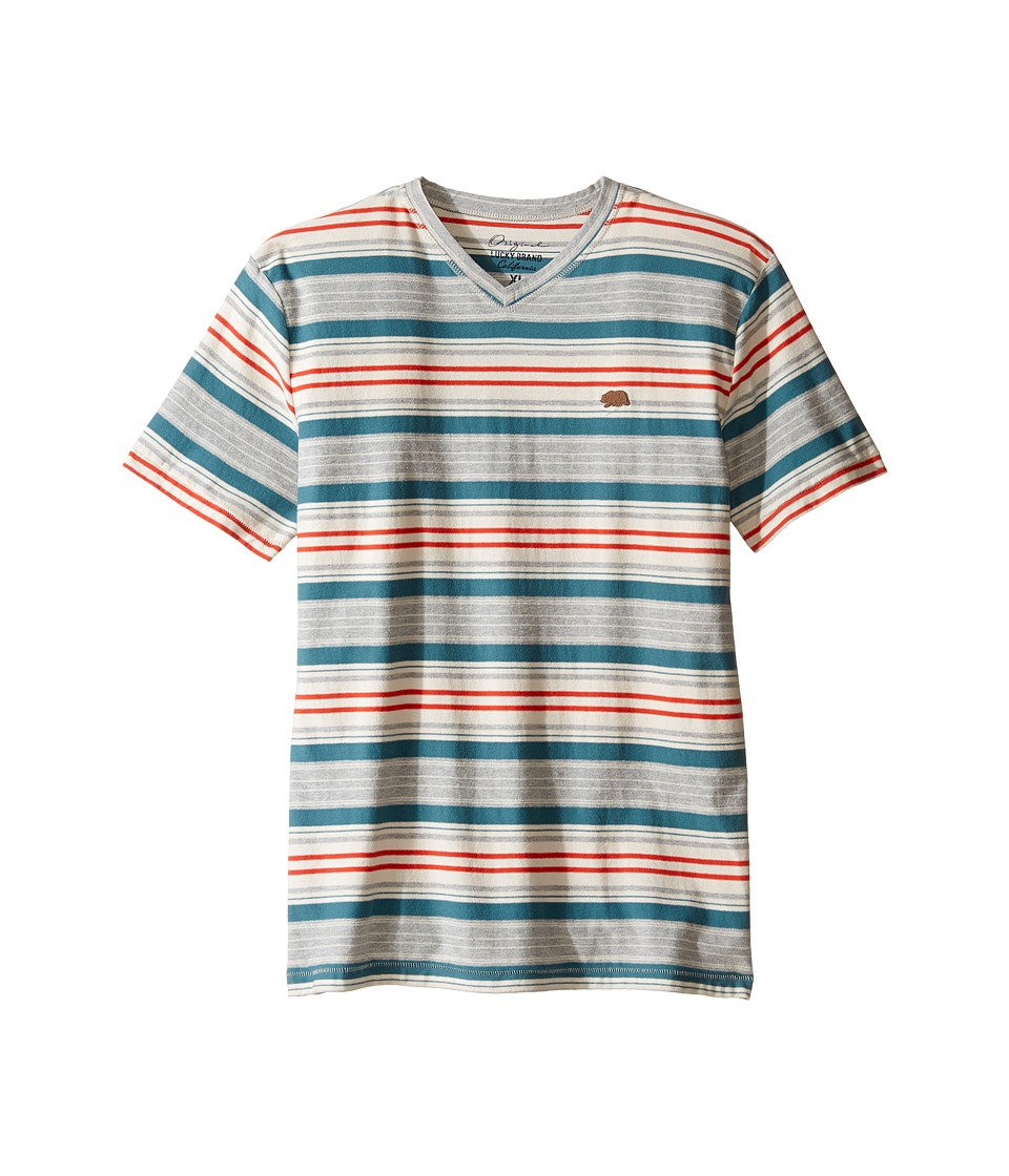 Lucky Brand Kids - V-Neck Striped T-Shirt (Big Kids) (Heather Light) Boy's T Shirt