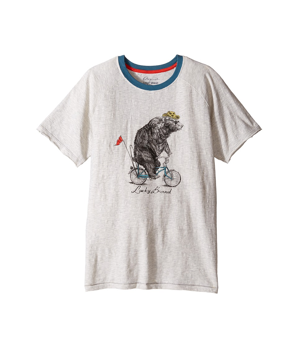 Lucky Brand Kids Raglan Tee w/ Bicycle Bear Screen Print (Big Kids) (Turtle Dove) Boy