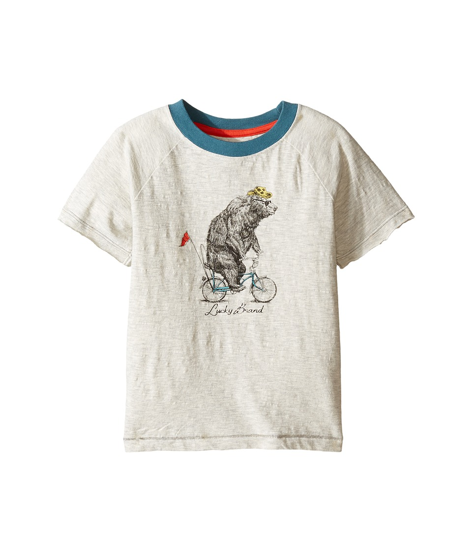 Lucky Brand Kids Raglan Tee w/ Bicycle Bear Screen Print (Toddler) (Turtle Dove) Boy