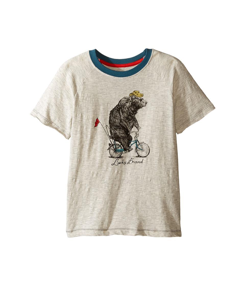 Lucky Brand Kids - Raglan Tee w/ Bicycle Bear Screen Print (Little Kids/Big Kids) (Turtle Dove) Boy's T Shirt
