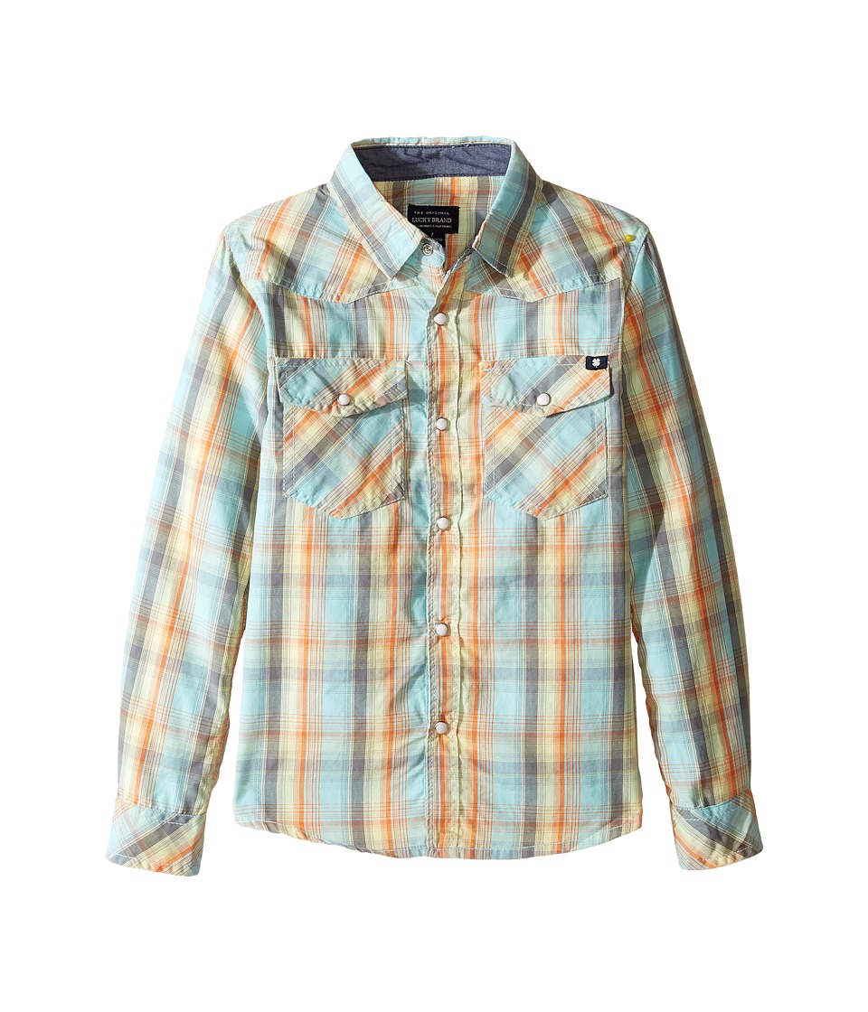 Lucky Brand Kids - Plaid Woven Western Shirt (Little Kids/Big Kids) (Turquoise) Boy's T Shirt