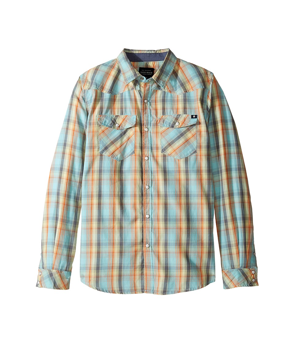Lucky Brand Kids - Plaid Woven Western Shirt (Big Kids) (Turquoise) Boy's T Shirt