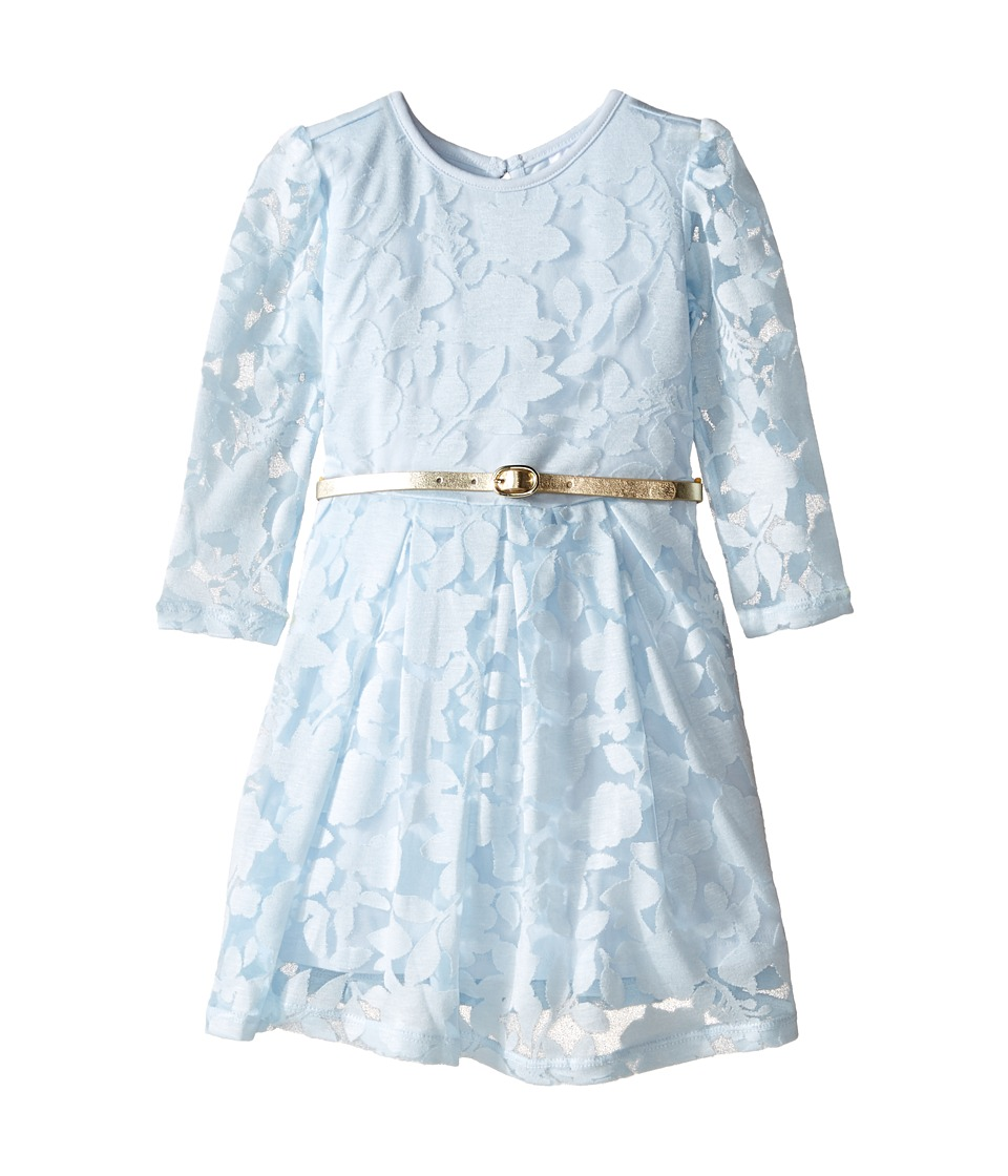 Kardashian Kids - Long Sleeve Burnout Dress with Metallic Belt (Infant) (Blue) Girl's Dress