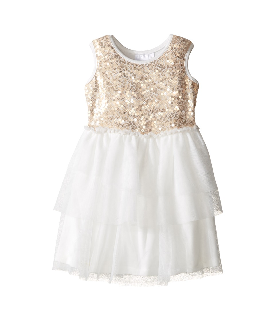 Kardashian Kids - Sequin Bodice Dress with Mesh Layer Skirt (Infant) (Gold/Ivory) Girl's Dress