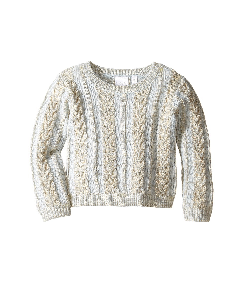 Kardashian Kids - Chunky Cable Knit Sweater (Infant) (Gold Metallic/Blue) Girl's Sweater