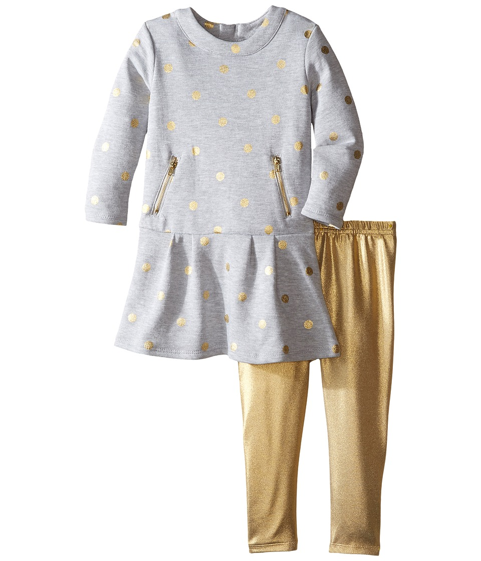Kardashian Kids - Gold Dot Fleece Dress with Metallic Leggings Two-Piece Set (Infant) (Blue/Gold Metallic) Girl's Active Sets