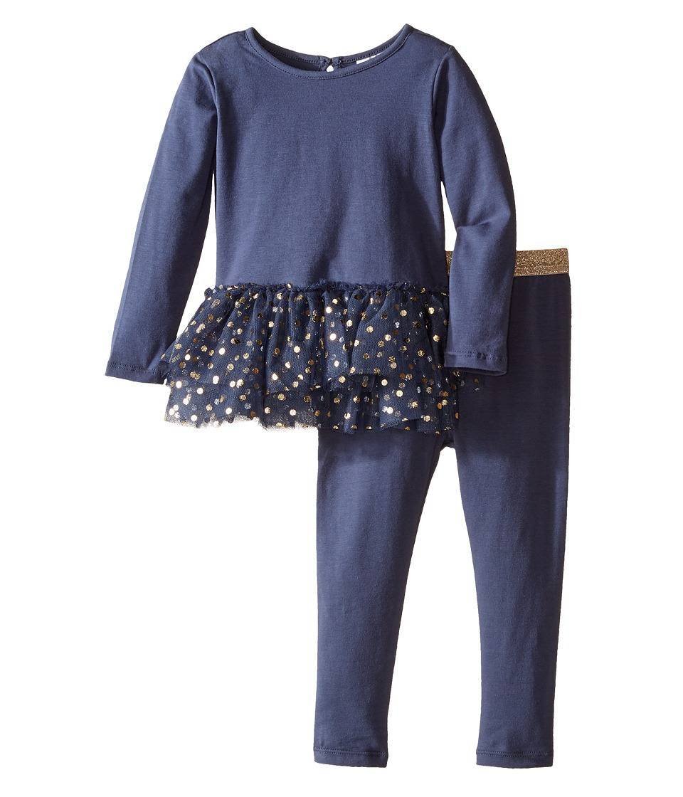 Kardashian Kids - Dot Tu Tu Top Leggings Two-Piece Set (Infant) (Navy/Gold) Girl's Active Sets