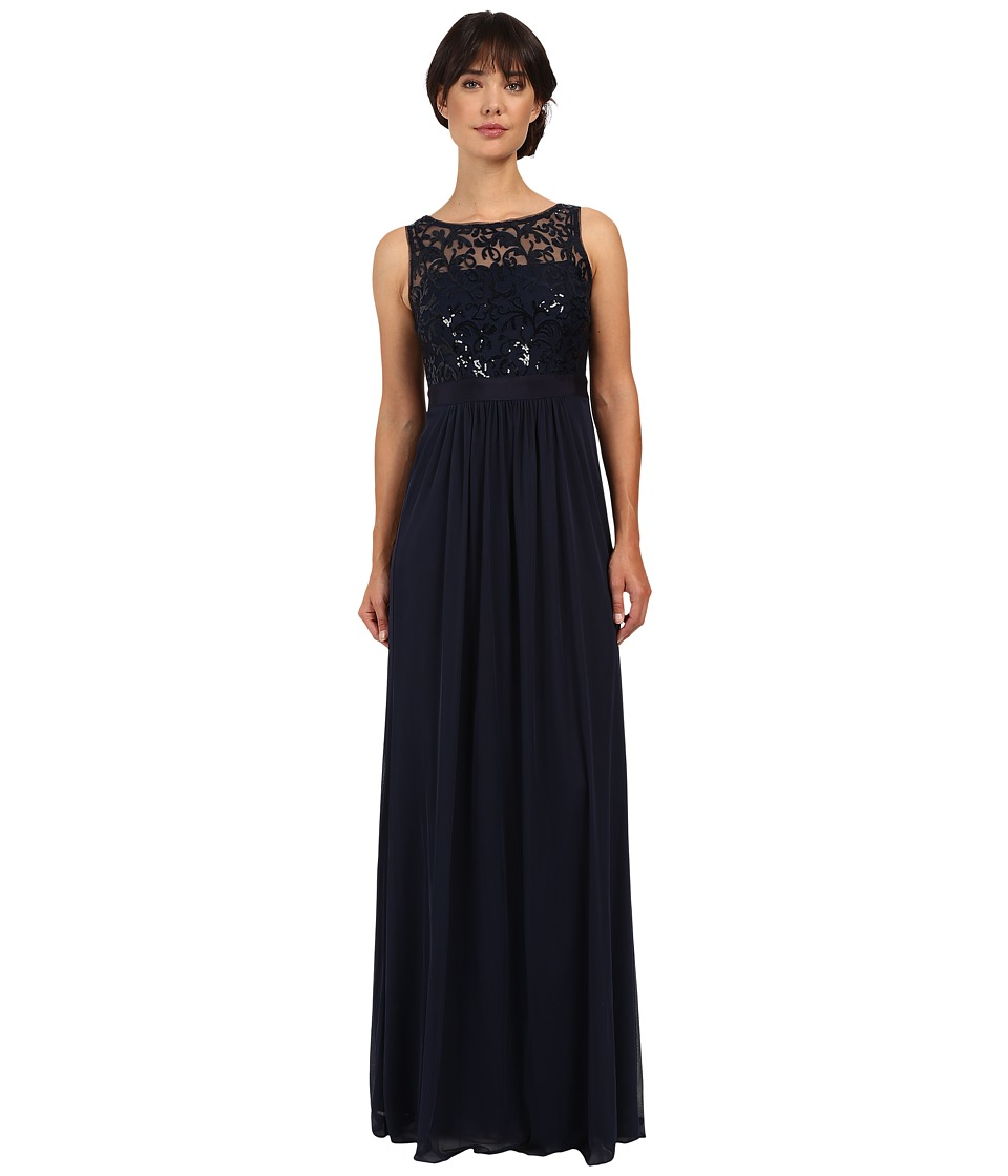 Adrianna Papell - Sleeveless Sequin Mesh Bodice and Stretch Tulle Gown (Midnight) Women's Dress