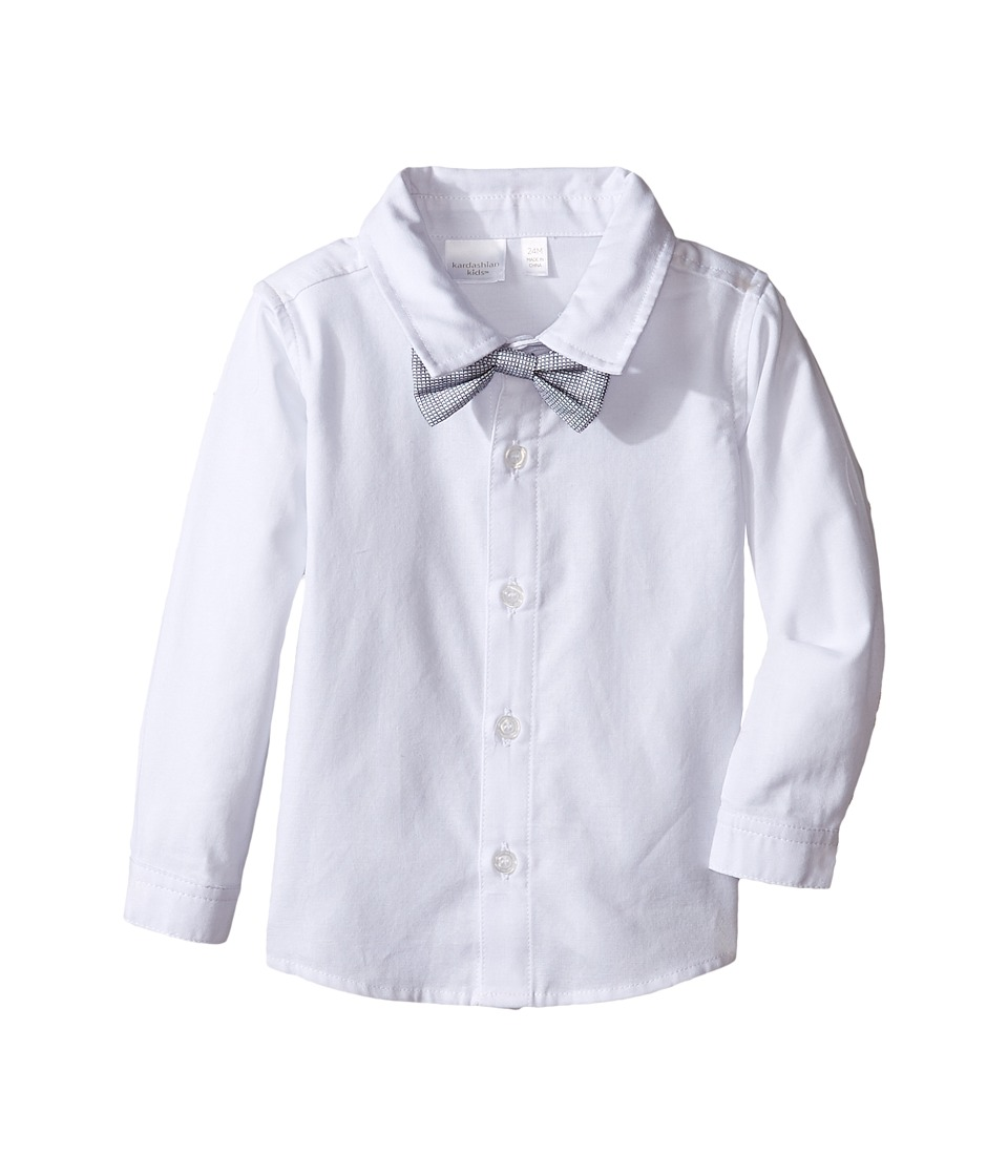 Kardashian Kids - Shirt with Removable Bow Tie (Infant) (White) Boy's T Shirt
