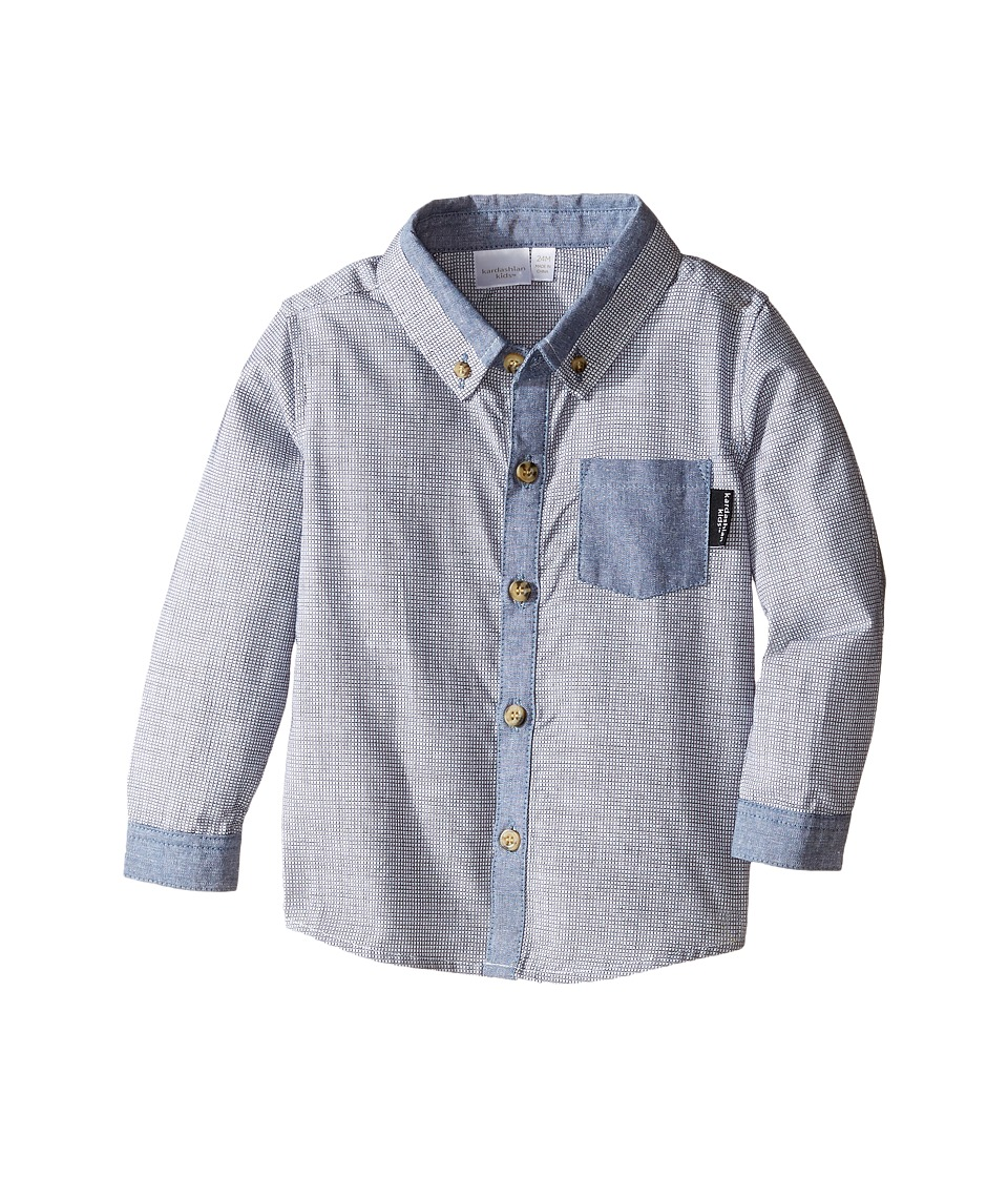 Kardashian Kids - Textured Shirt with Chambray Trim (Infant) (Blue) Boy's T Shirt